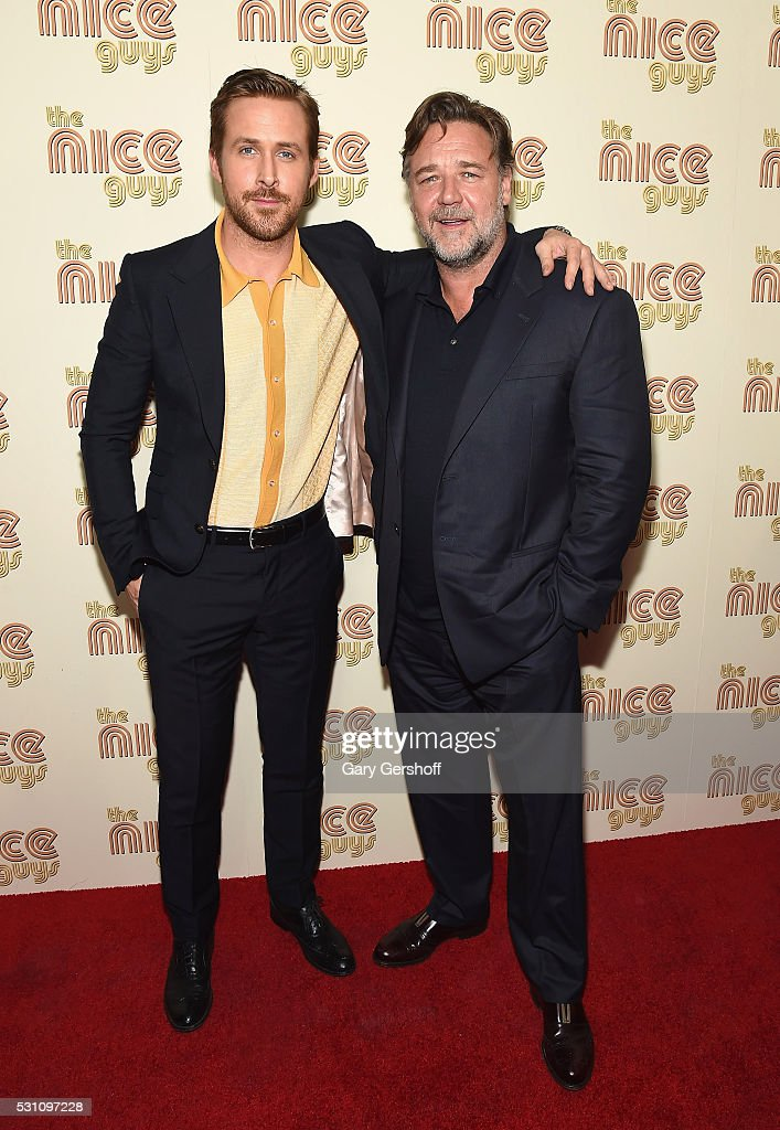 Actors Ryan Gosling (L) and Russell Crowe attend 'The Nice Guys' New York screening at Metrograph on May 12, 2016 in New York City.