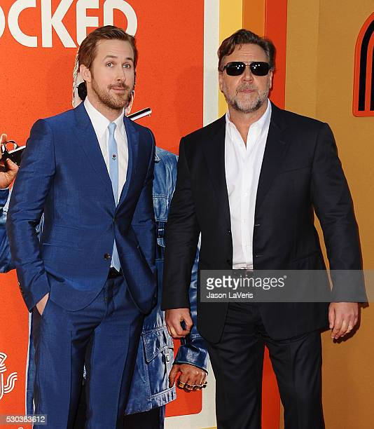 Actors Ryan Gosling and Russell Crowe attend the premiere of The Nice Guys at TCL Chinese Theatre on May 10 2016 in Hollywood California
