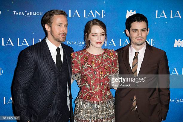 Actors Ryan Gosling Emma Stone and director Damien Chazelle attend 'LA LA LAND' Premiere at Cinema UGC Normandie on January 10 2017 in Paris France