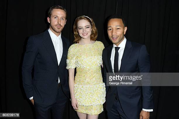 Actors Ryan Gosling Emma Stone and Musician/Actor John Legend attend the La La Land premiere during the 2016 Toronto International Film Festival at...