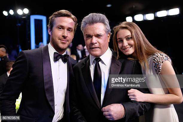 Actors Ryan Gosling Ray Liotta and Karsen Liotta pose during The 22nd Annual Screen Actors Guild Awards at The Shrine Auditorium on January 30 2016...