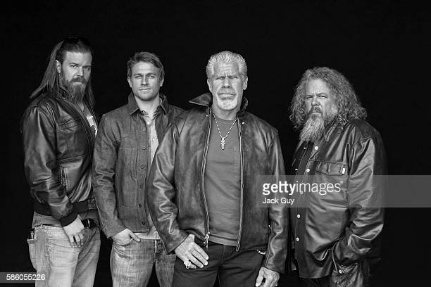 Actors Ryan Hurst Charlie Hunnam Ron Perlman and Mark Boone Junior are photographed for Emmy Magazine on April 26 2012 in Los Angeles California...