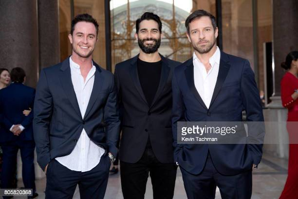 Actors Ryan Kelley Tyler Hoechlin and Ian Bohen arrive for the amfAR Paris Dinner at Le Petit Palais on July 2 2017 in Paris France