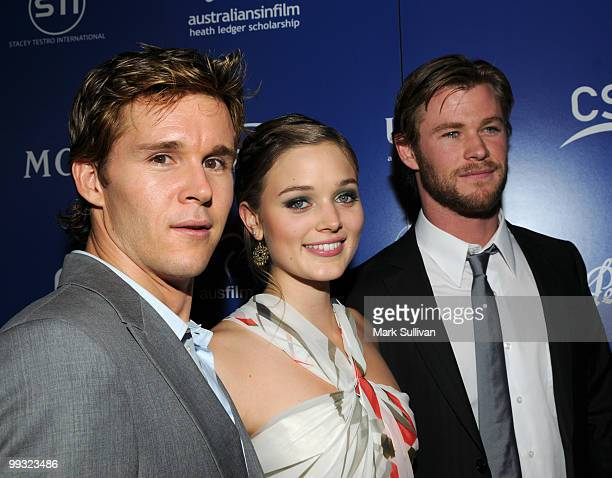 Actors Ryan Kwanten Bella Heathcote and Chris Hemsworth arrive at Australians In Film's 2010 Breakthrough Awards held at Thompson Beverly Hills on...
