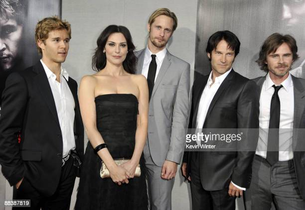 Actors Ryan Kwanten Michelle Forbes Alexander Skarsgard Stephen Moyer and Sam Trammell pose at the premiere of the 2nd season of HBO's True Blood at...