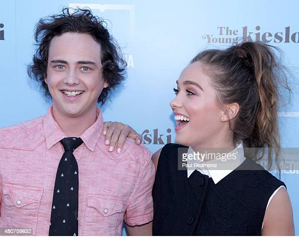 Actors Ryan Malgarini and Haley Lu Richardson attend the screening of Mance Media's 'The Young Kieslowski' at the Vista Theatre on July 14 2015 in...