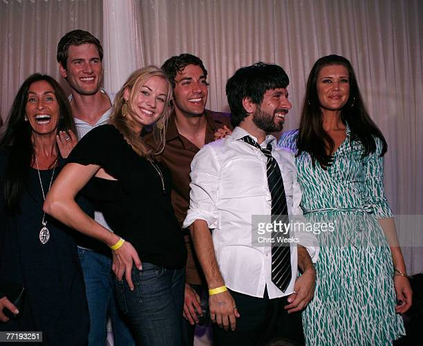 Actors Ryan McPartlin from center left Yvonne Strahovski Zachary Levi Joshua Gomez and Sarah Lancaster attend NBC's CHUCK premiere party at PURE...