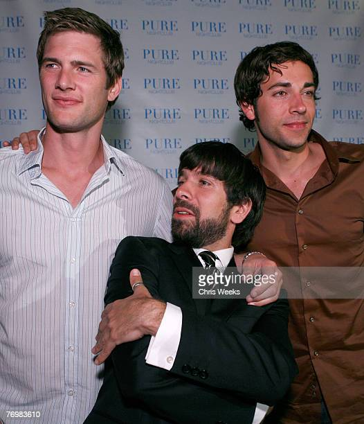 Actors Ryan McPartlin from left Joshua Gomez and Zachary Levi attend NBC's CHUCK premiere party at PURE Nightclub on September 22 2007 in Las Vegas...