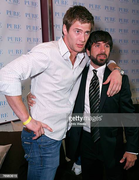 Actors Ryan McPartlin left and Joshua Gomez attend NBC's CHUCK premiere party at PURE Nightclub on September 22 2007 in Las Vegas Nevada