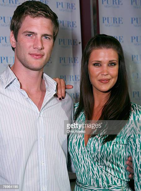 Actors Ryan McPartlin left and Sarah Lancaster attend NBC's CHUCK premiere party at PURE Nightclub on September 22 2007 in Las Vegas Nevada