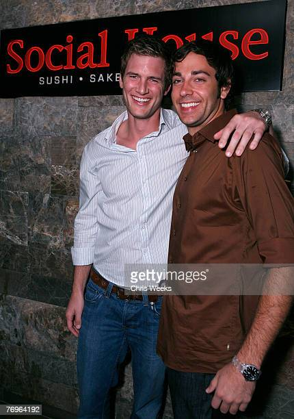 Actors Ryan McPartlin left and Zachary Levi arrive at Social House prior to attending NBC's CHUCK premiere party at PURE Nightclub on September 22...