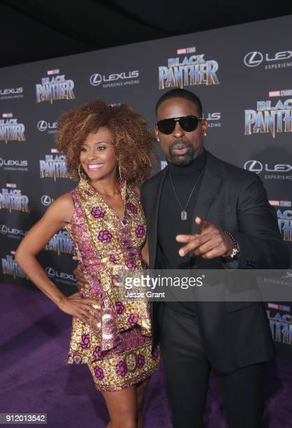 Actors Ryan Michelle Bathe and Sterling K. Brown at the Los Angeles World Premiere of Marvel Studios' BLACK PANTHER at Dolby Theatre on January 29,...