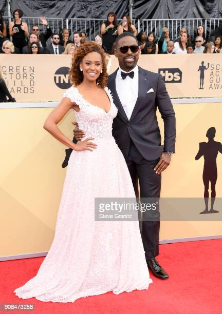 Actors Ryan Michelle Bathe and Sterling K Brown attend the 24th Annual Screen Actors Guild Awards at The Shrine Auditorium on January 21 2018 in Los...