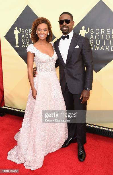 Actors Ryan Michelle Bathe and Sterling K Brown attend the 24th Annual Screen ActorsGuild Awards at The Shrine Auditorium on January 21 2018 in Los...