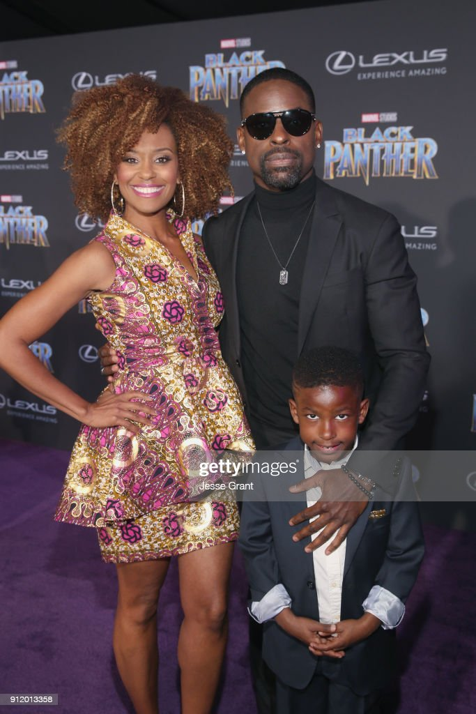 Actors Ryan Michelle Bathe, Sterling K. Brown and son, Andrew Brown at the Los Angeles World Premiere of Marvel Studios' BLACK PANTHER at Dolby Theatre on January 29, 2018 in Hollywood, California.