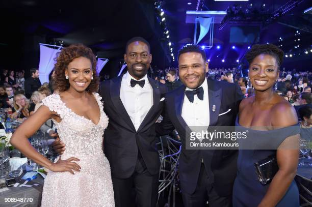 Actors Ryan Michelle Bathe Sterling K Brown Anthony Anderson and Alvina Stewart attend the 24th Annual Screen Actors Guild Awards at The Shrine...
