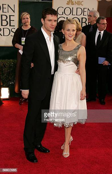 Actors Ryan Phillippe and Reese Witherspoon arrive to the 63rd Annual Golden Globe Awards at the Beverly Hilton on January 16 2006 in Beverly Hills...
