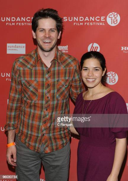 Actors Ryan Piers Williams and America Ferrera attend the 'Please Give' Premiere during the 2010 Sundance Film Festival at Eccles Center Theatre on...