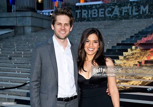 Actors Ryan Piers Williams and America Ferrera attend the Vanity Fair Party during the 2014 Tribeca Film Festival at the State Supreme Courthouse on...
