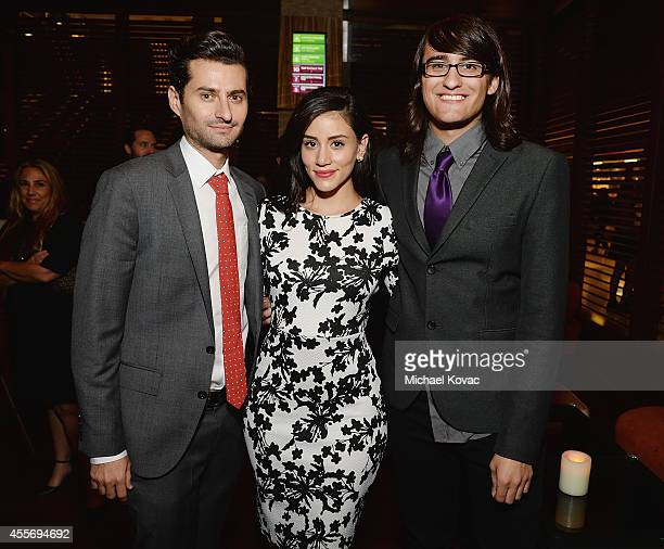 Actors Ryan Radis Michelle Veintimilla and Drew Monson attend the Los Angeles Premiere of Not Cool after party at Landmark Theatre on September 18...
