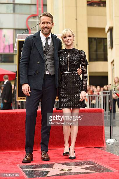 Actors Ryan Reynolds and Anna Faris attend a ceremony honoring Ryan Reynolds with a star on the Hollywood Walk of Fames on December 15 2016 in...