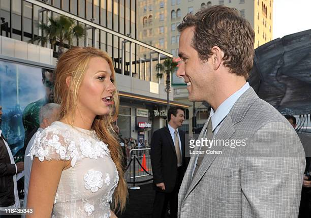 Actors Ryan Reynolds and Blake Lively arrive at the 'Green Lantern' Los Angeles Premiere held at at Grauman's Chinese Theatre on June 15 2011 in...