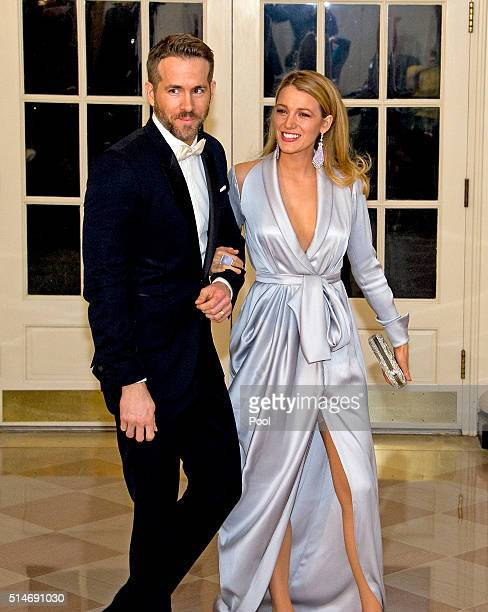 Actors Ryan Reynolds and Blake Lively arrive for the State Dinner in honor of Prime Minister Trudeau and Mrs. Sophie Trudeau of Canada at the White...