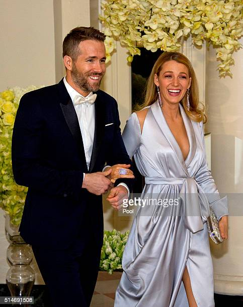 Actors Ryan Reynolds and Blake Lively arrive for the State Dinner in honor of Prime Minister Trudeau and Mrs Sophie Trudeau of Canada at the White...