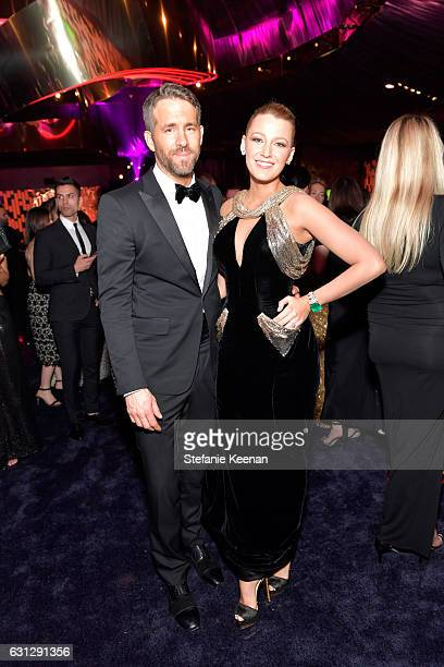 Actors Ryan Reynolds and Blake Lively attend The 2017 InStyle and Warner Bros 73rd Annual Golden Globe Awards PostParty at The Beverly Hilton Hotel...