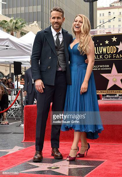 Actors Ryan Reynolds and Blake Lively attend the ceremony honoring Ryan Reynolds with a Star on the Hollywood Walk of Fame on December 15 2016 in...