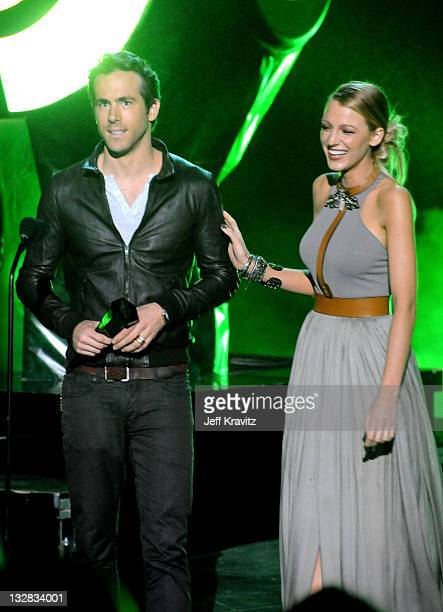 """Actors Ryan Reynolds and Blake Lively speak onstage during Spike TV's """"Scream 2010"""" at The Greek Theatre on October 16, 2010 in Los Angeles,..."""