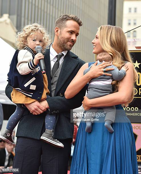 Actors Ryan Reynolds and Blake Lively with daughters James Reynolds and Ines Reynolds attend the ceremony honoring Ryan Reynolds with a Star on the...