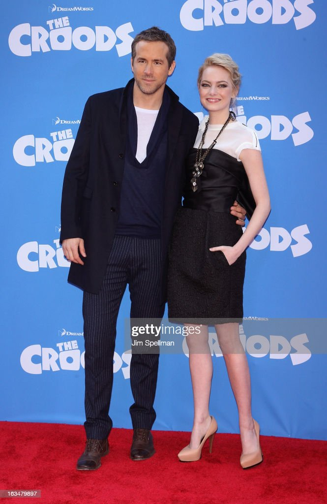 Actors Ryan Reynolds and Emma Stone attend 'The Croods' premiere at AMC Loews Lincoln Square 13 theater on March 10, 2013 in New York City.