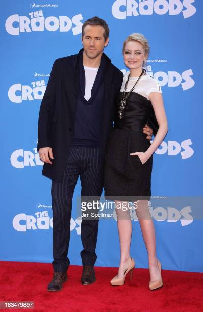 Actors Ryan Reynolds and Emma Stone attend The Croods premiere at AMC Loews Lincoln Square 13 theater on March 10 2013 in New York City