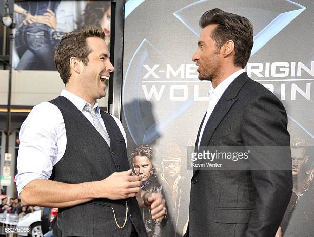 """Actors Ryan Reynolds and Hugh Jackman arrive at the screening 20th Century Fox's """"X-Men Origins: Wolverine"""" at the Chinese Theater on April 28, 2009..."""