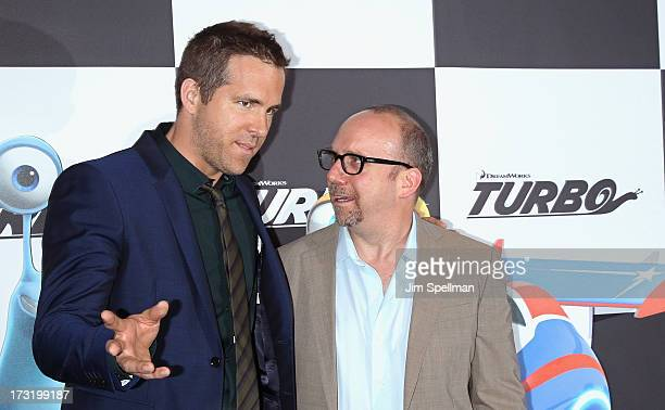 """Actors Ryan Reynolds and Paul Giamatti attend the """"Turbo"""" New York Premiere at AMC Loews Lincoln Square on July 9, 2013 in New York City."""