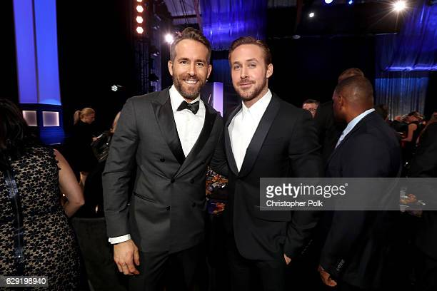 Actors Ryan Reynolds and Ryan Gosling attend The 22nd Annual Critics' Choice Awards at Barker Hangar on December 11 2016 in Santa Monica California