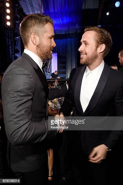 Actors Ryan Reynolds and Ryan Gosling attend The 22nd Annual Critics' Choice Awards at Barker Hangar on December 11 2016 in Santa Monica California