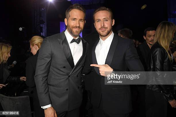Actors Ryan Reynolds attend Ryan Gosling attend The 22nd Annual Critics' Choice Awards at Barker Hangar on December 11 2016 in Santa Monica California