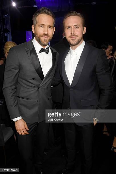 Actors Ryan Reynolds attend Ryan Gosling attend The 22nd Annual Critics' Choice Awards at Barker Hangar on December 11 2016 in Santa Monica California