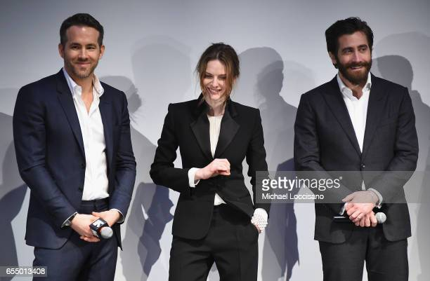 Actors Ryan Reynolds Rebecca Ferguson and Jake Gyllenhaal attend the Life premiere during 2017 SXSW Conference and Festivals at the ZACH Theatre on...