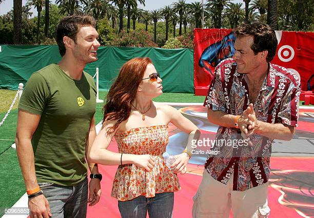 Actors Ryan Seacrest Amy Davidson and Luke Perry mingle at the Target A Time for Heroes to Benefit the Elizabeth Glaser Pediatrics AID Foundation...