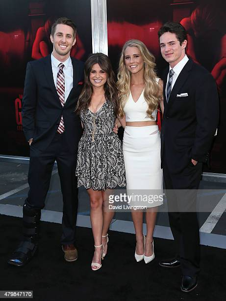 Actors Ryan Shoos Pfeifer Brown Cassidy Gifford and Reese Mishler attend the premiere of New Line Cinema's The Gallows at Hollywood High School on...