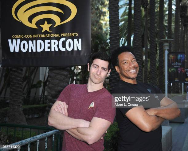 Actors Ryan T Husk and Rico E Anderson attend Day 2 of Wonder Con 2018 held at Anaheim Convention Center on March 24 2018 in Anaheim California