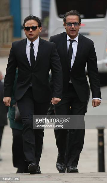 Actors Ryan Thomas and Jimmi Harkishan arrive for the funeral of Coronation Street scriptwriter Tony Warren at Manchester Cathedral on March 18 2016...