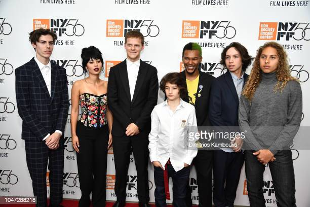 Actors Ryder McLaughlin Alexa Demie Lucas Hedges Sunny Sulji Nakel Smithc Gio Galicia and Olan Prenatt attend the Mid90s screening during the 56th...