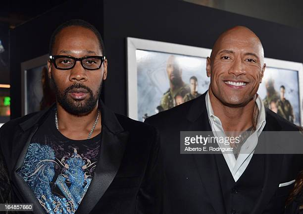 Actors RZA and Dwayne 'The Rock' Johnson attend the premiere of Paramount Pictures' 'GI Joe Retaliation' at TCL Chinese Theatre on March 28 2013 in...