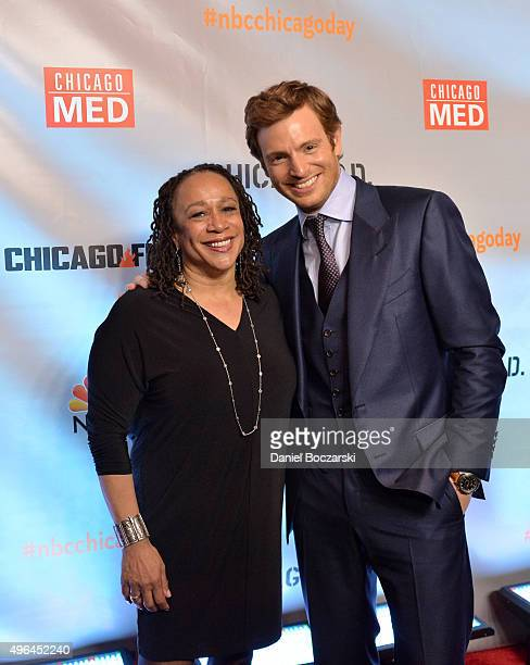 Actors S. Epatha Merkerson and Nick Gehlfuss attend a premiere party for NBC's 'Chicago Fire', 'Chicago P.D.' and 'Chicago Med' at STK Chicago on...
