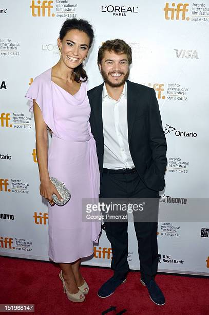 Actors Saadet Aksoy and Emile Hirsch arrive at the Twice Born premiere during the 2012 Toronto International Film Festival at Roy Thomson Hall on...