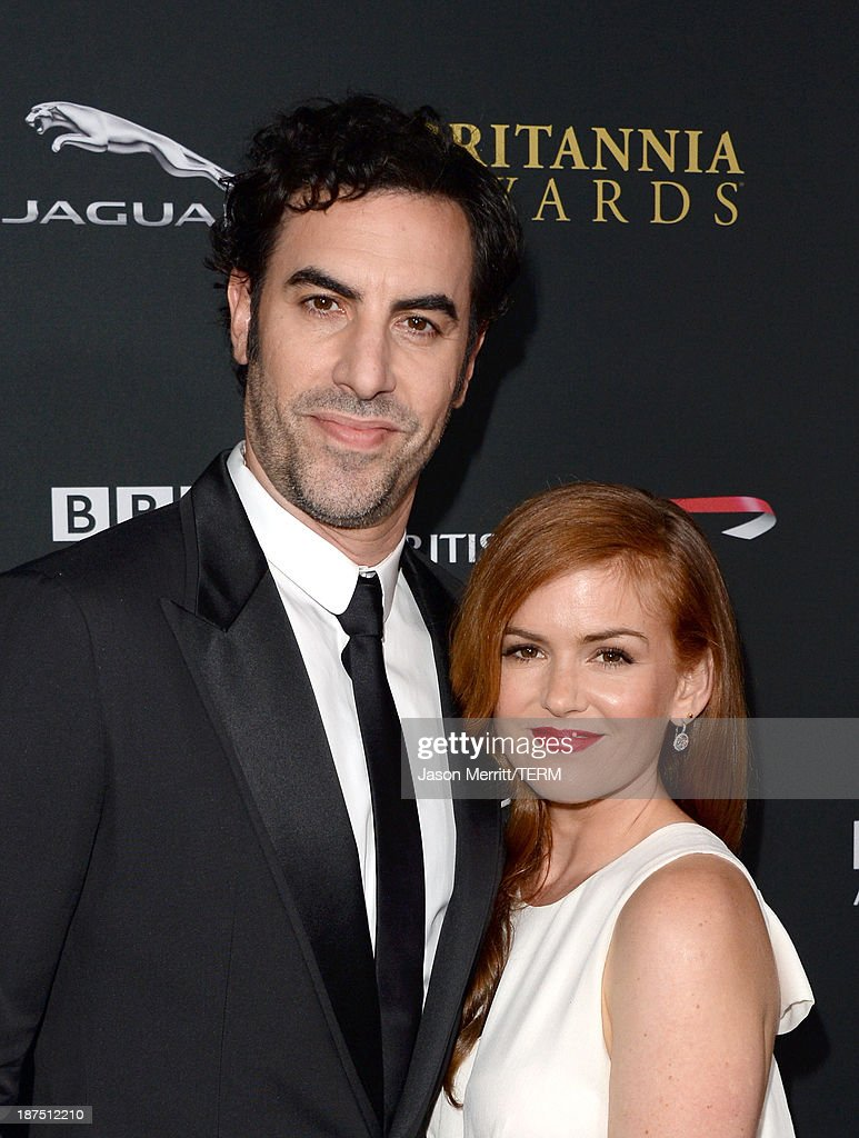 Actors Sacha Baron Cohen (L) and Isla Fisher attend the 2013 BAFTA LA Jaguar Britannia Awards presented by BBC America at The Beverly Hilton Hotel on November 9, 2013 in Beverly Hills, California.